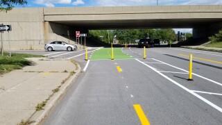 Protected Bike lane on Ridge Road in Lackawanna