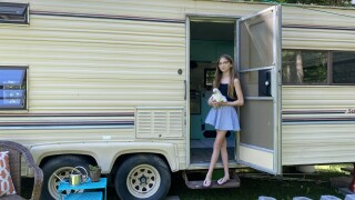 Lauren Nelson, 11, with her renovated camper