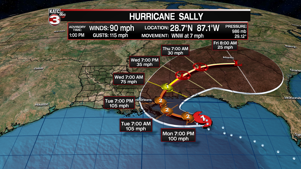 Sally Rapidly Strengthens To A Hurricane Expected To Be A Cat 2 At Landfall