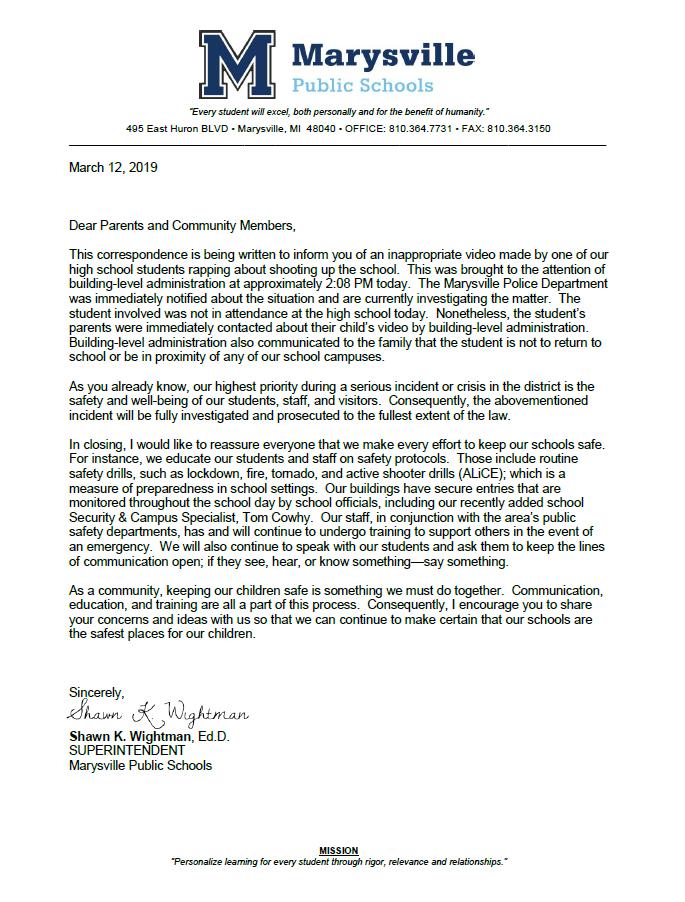 Marysville Statement