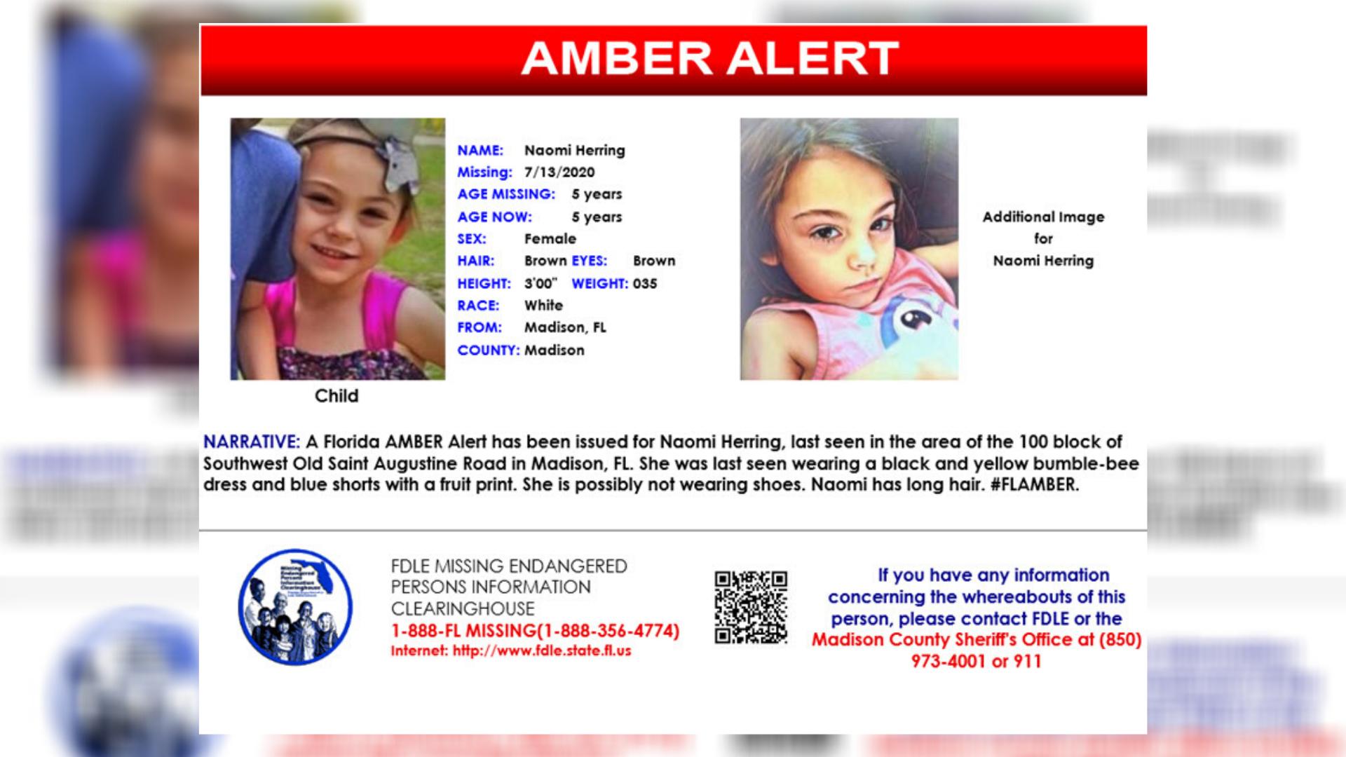 Amber Alert Canceled For 5 Year Old Florida Girl