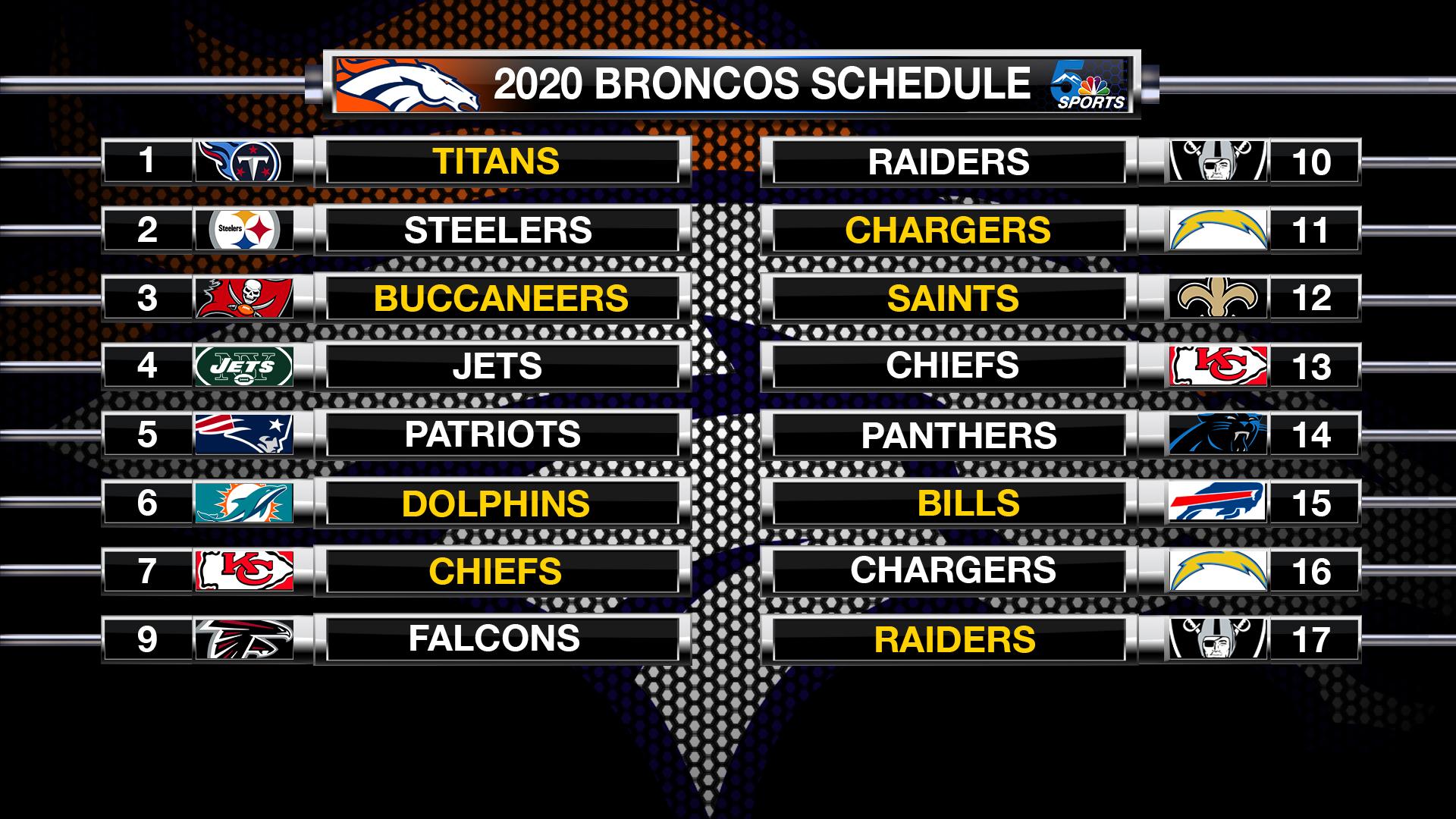 Broncos Release 2020 21 Schedule