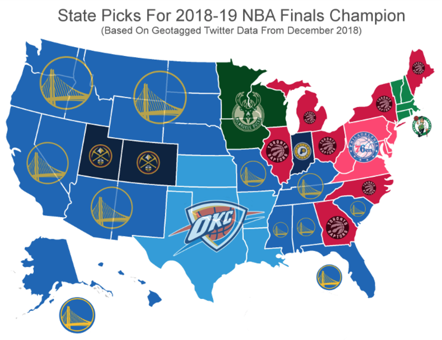 Which team each state thinks will win the 2019 NBA Finals