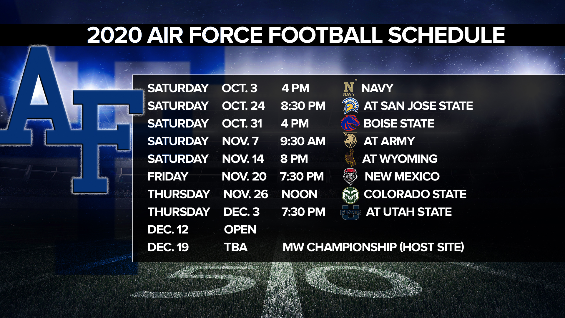 Air Force Finalizes 2020 Football Schedule