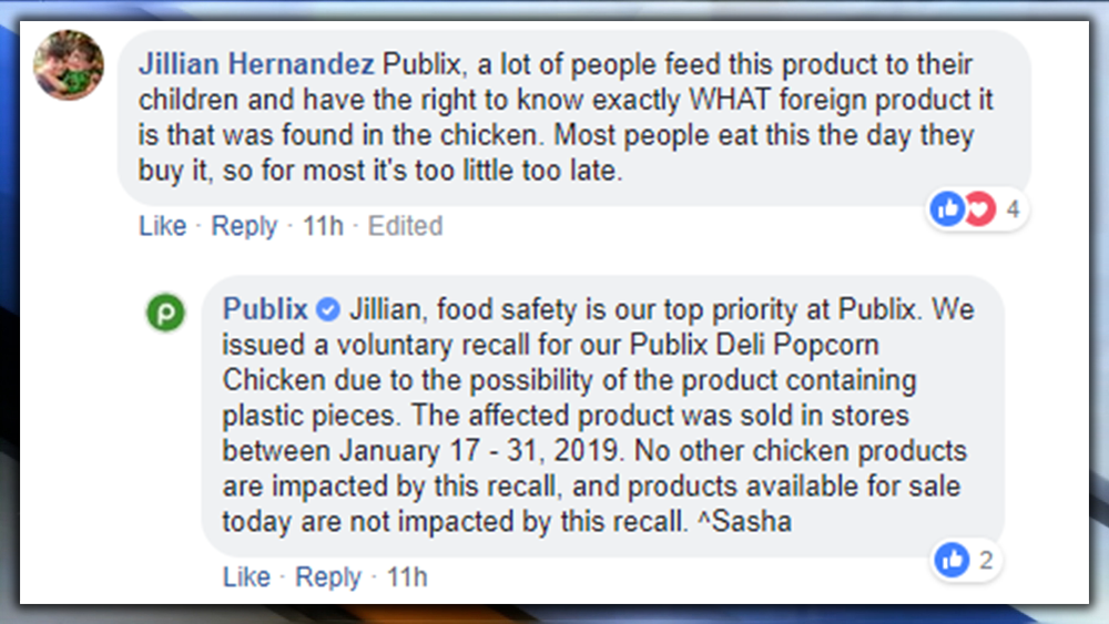 Publix recalls deli popcorn chicken because it may contain foreign material