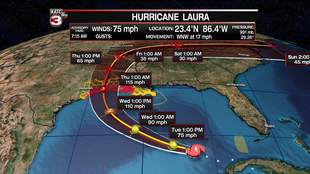Laura Intensifies To A Hurricane Expected To Be Major Storm At Landfall