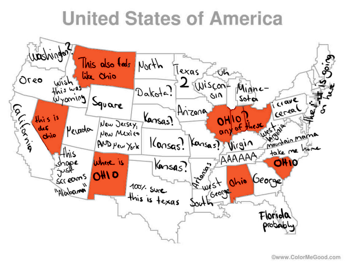 Us Map By Foreigners German Twitter user tries to label U.S. map, finds eight Ohios