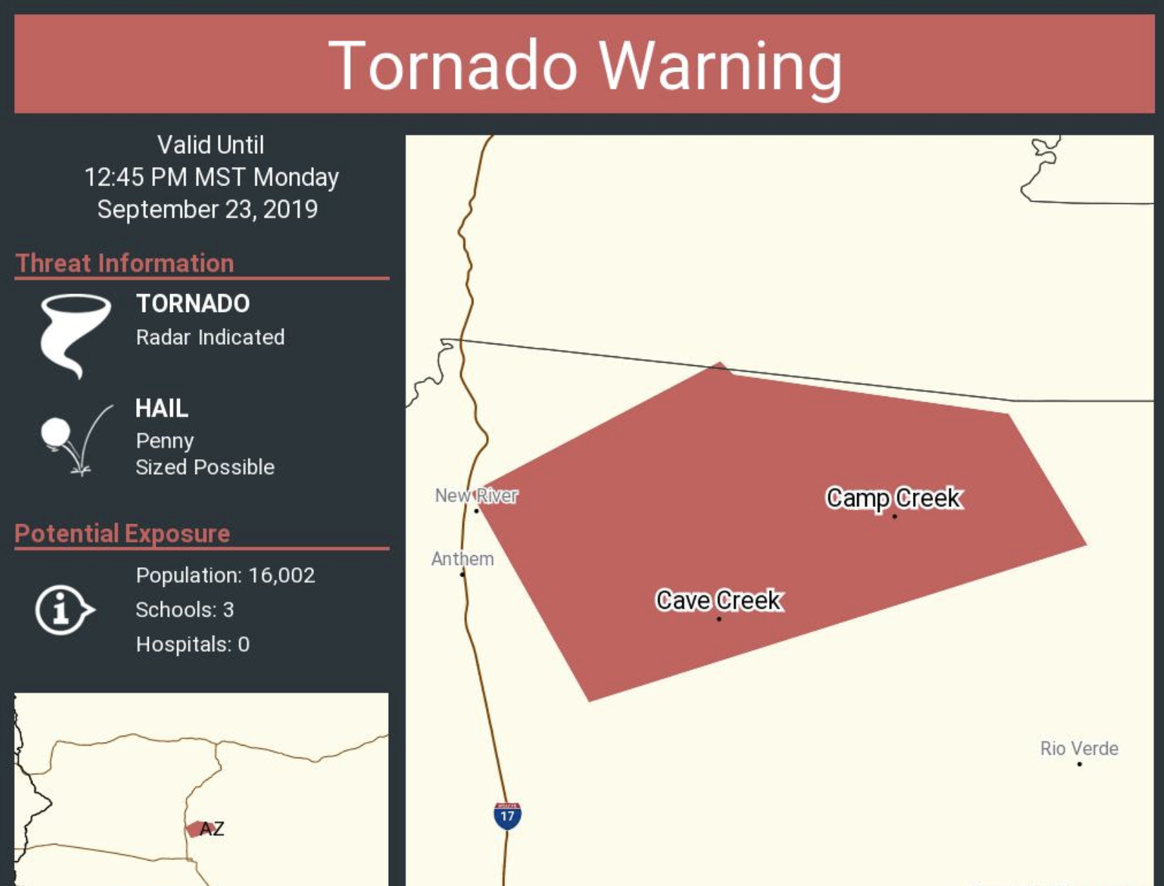 Tornado Warning Expires For Cave Creek New River Areas