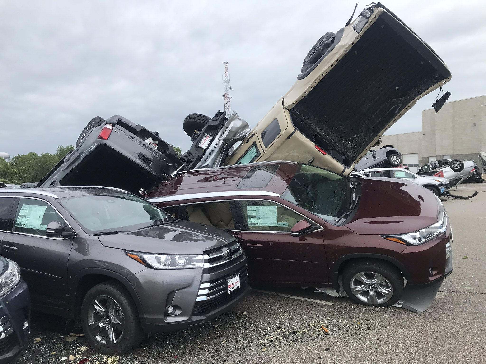 Jefferson City Tornado Sends Cars At Chevrolet Toyota Dealership