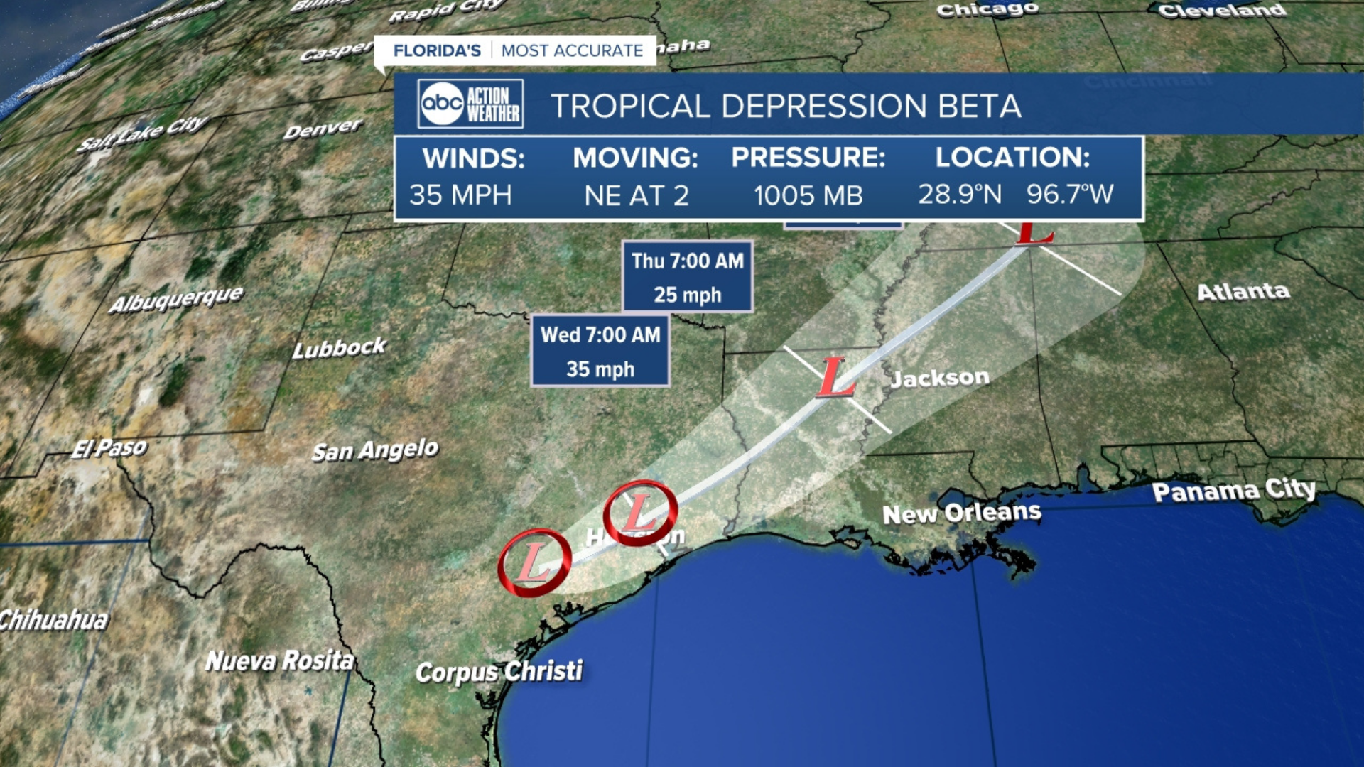 Beta Now A Post Tropical Cyclone After Bringing Flooding To Texas Coast Nhc Says