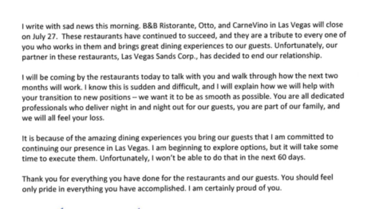 Mario Batali restaurants closing in Las Vegas after chef accused of