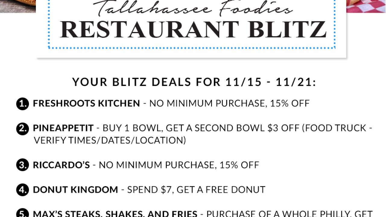 Tallahassee Foodies November 15 restaurant blitz