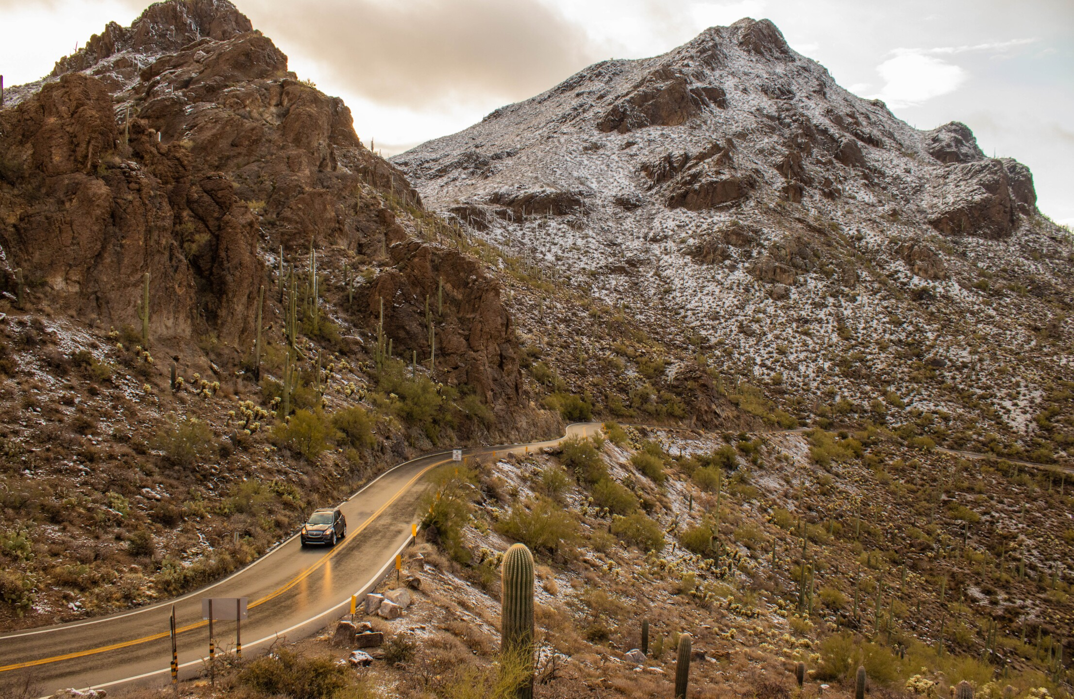 """Snow over Gates Pass and """"A"""" Mountain"""