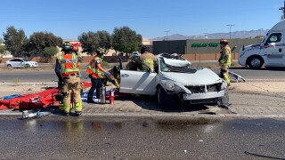 A serious injury crash shut down northbound Interstate 19 Thursday near Duval Mine Road. Photo via Green Valley Fire.