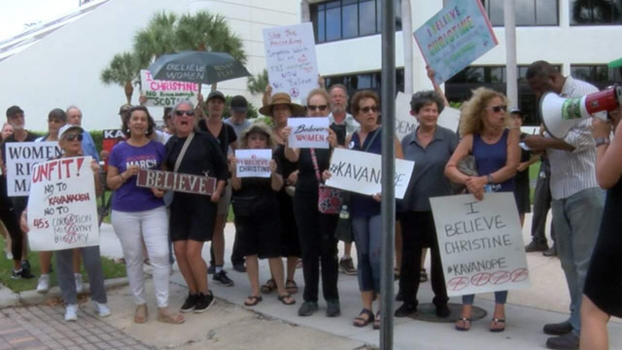 Group protests Judge Kavanaugh in West Palm Beach