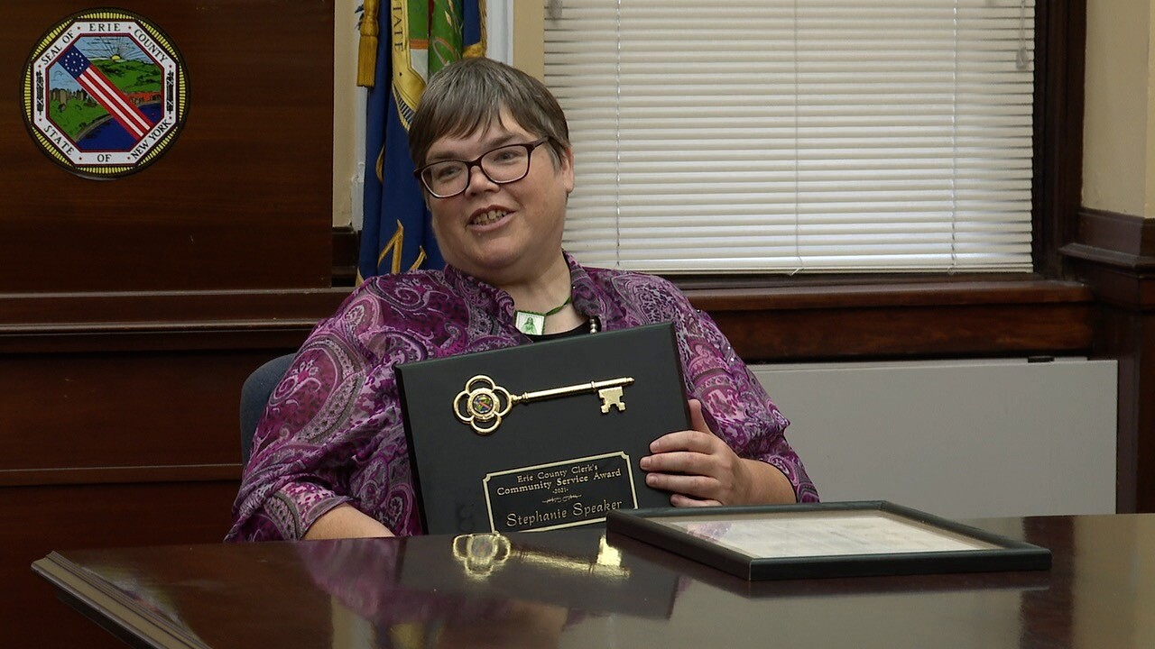 Stephanie Speaker honored with county's first community service award.jpg