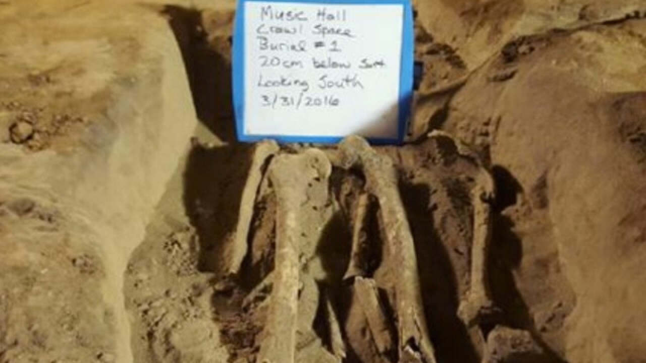 Human bones found in Music Hall