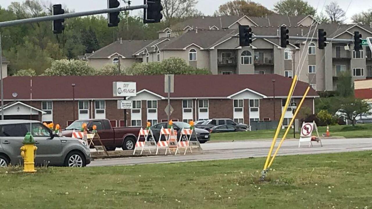 cornhusker and fort crook no left turn sign construction bellevue