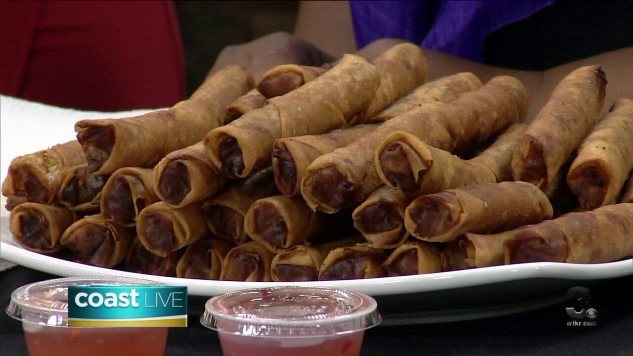 Learning how to make lumpia for Fil Fest USA on CoastLive