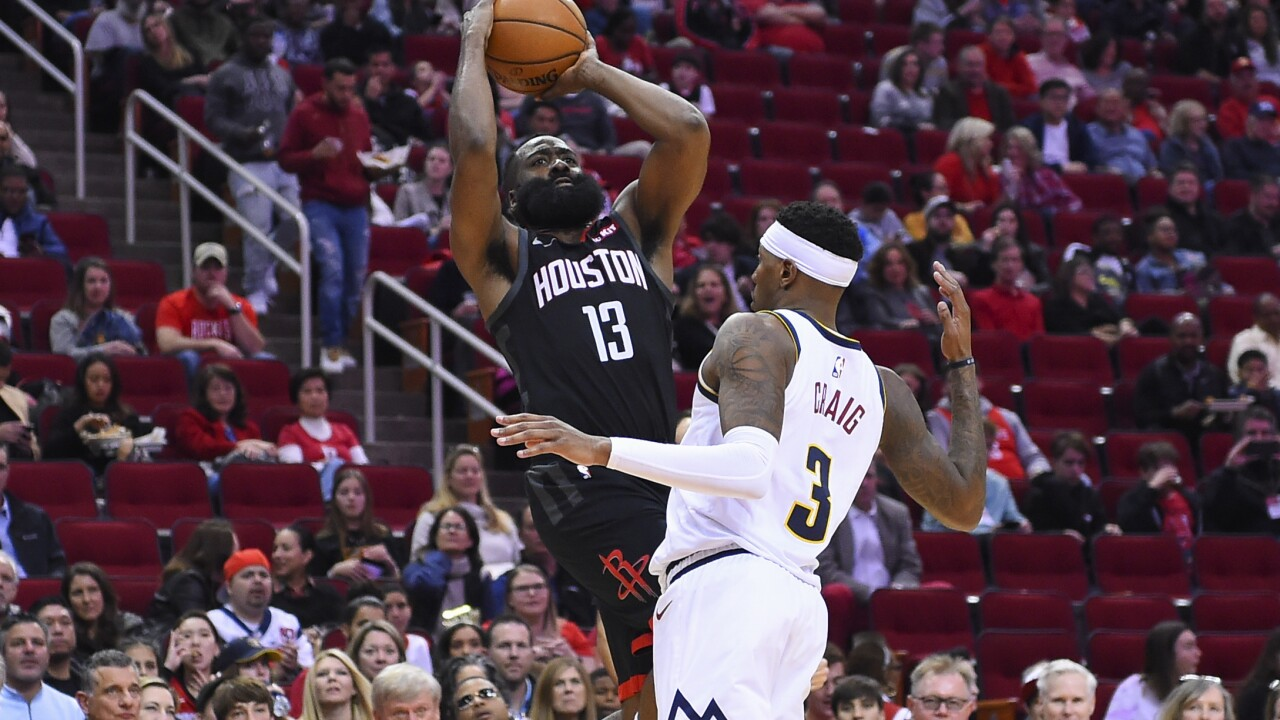 Harden has 35 as Rockets down Nuggets 130-104