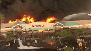 PHOTOS: Smoke plume from massive Safeway fire
