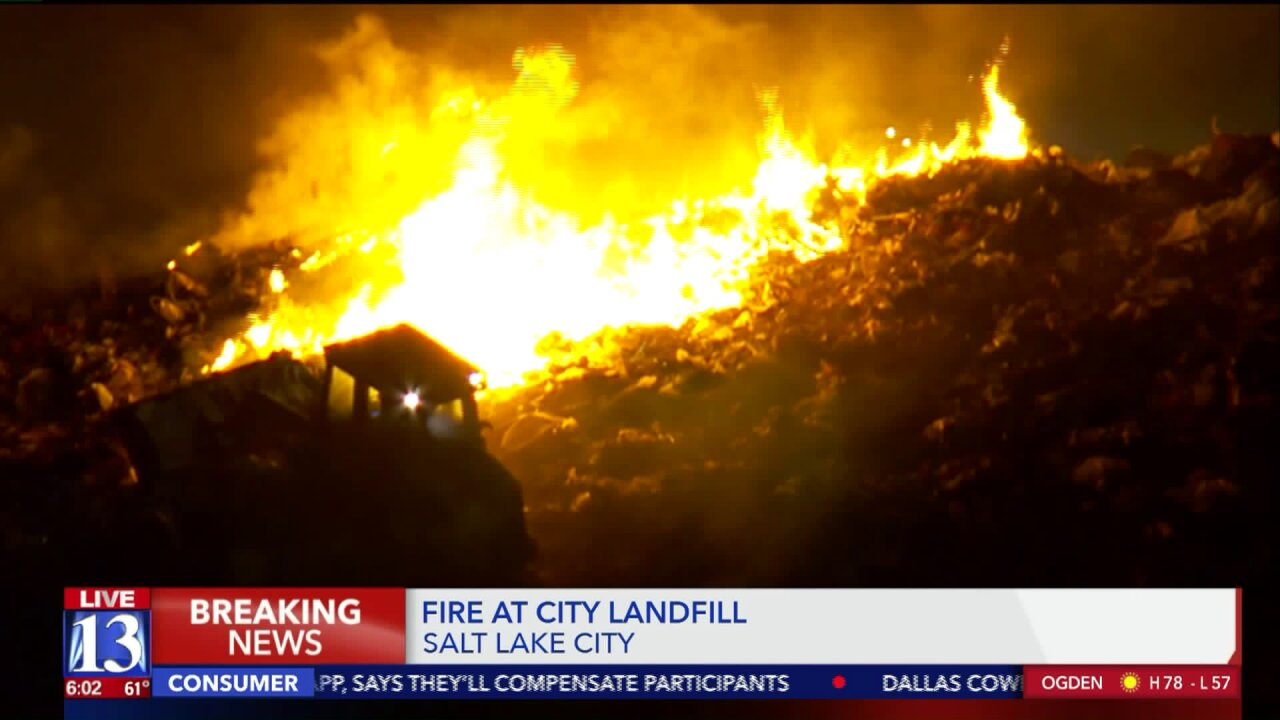 Blaze contained, smoke remains visible as crews extinguish fire at Salt Lake Citylandfill