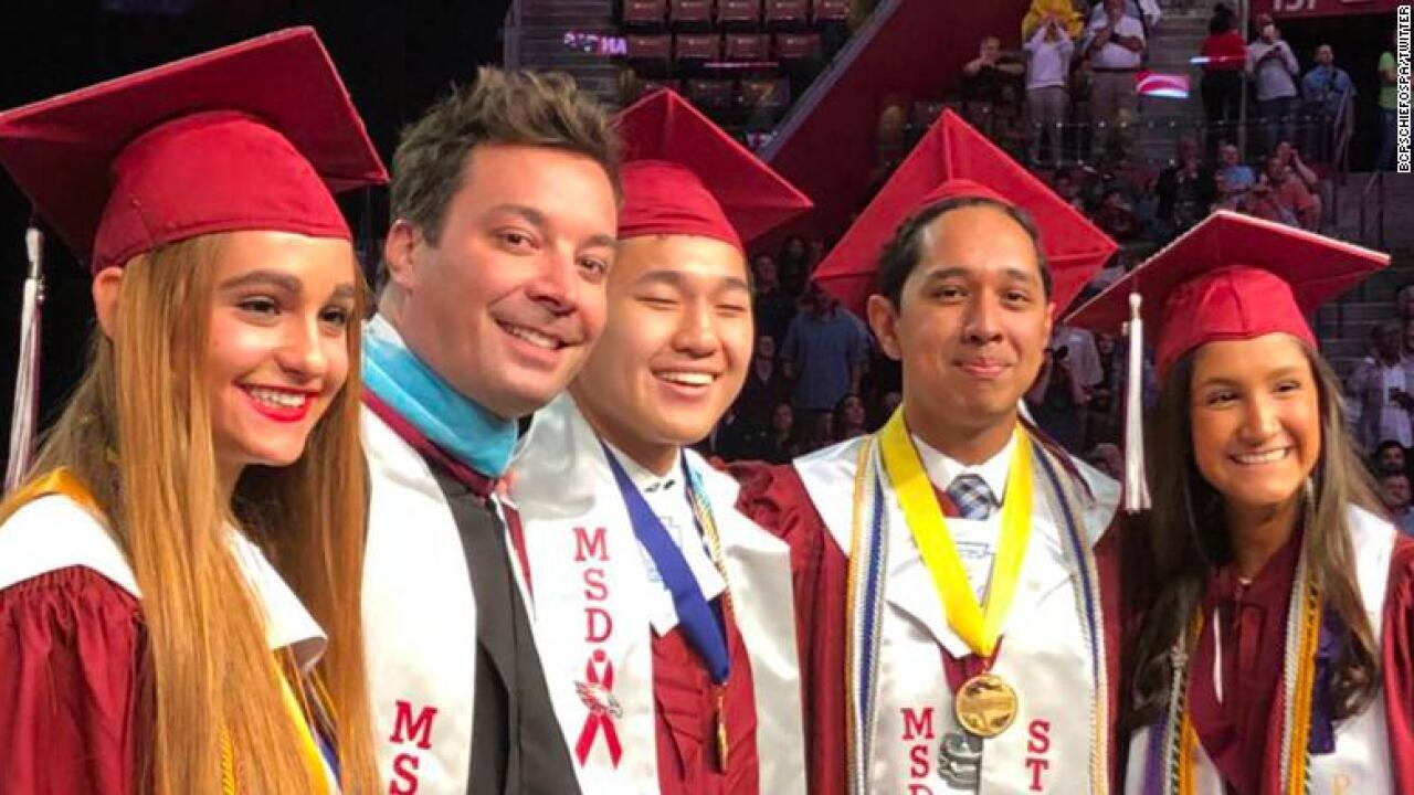 Jimmy Fallon crashes Marjory Stoneman Douglas graduation