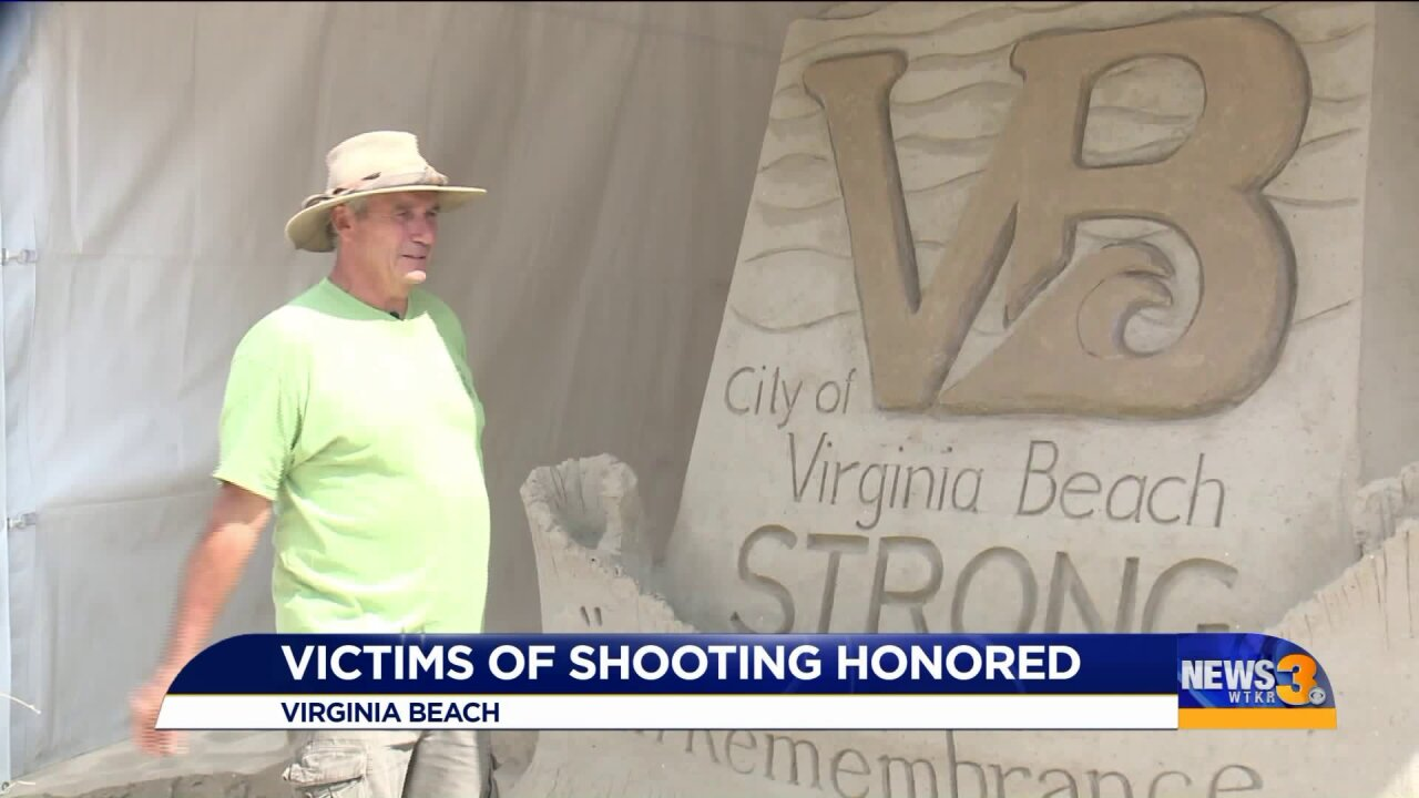 Retired firefighter-turned-sand sculptor creates sand memorial to honor Virginia Beach mass shooting victims