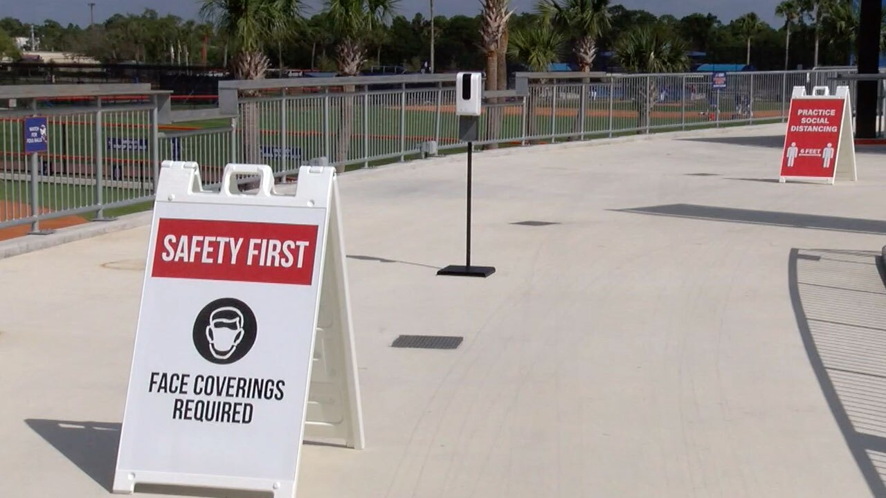 Safety protocol signs at Clover Park in Port St. Lucie