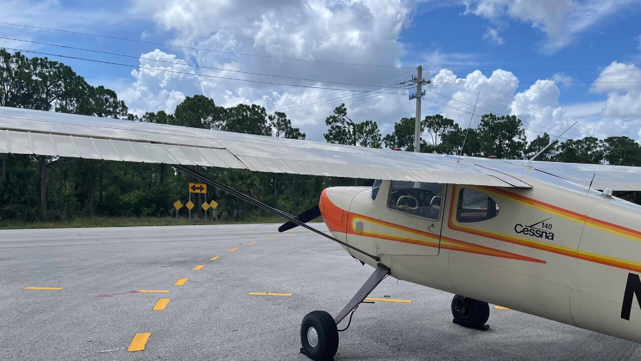 A Cessna 140 makes an emergency landing on Southwest Glades Cut-Off Road in Port St. Lucie on Aug. 2, 2021 (1).jpg