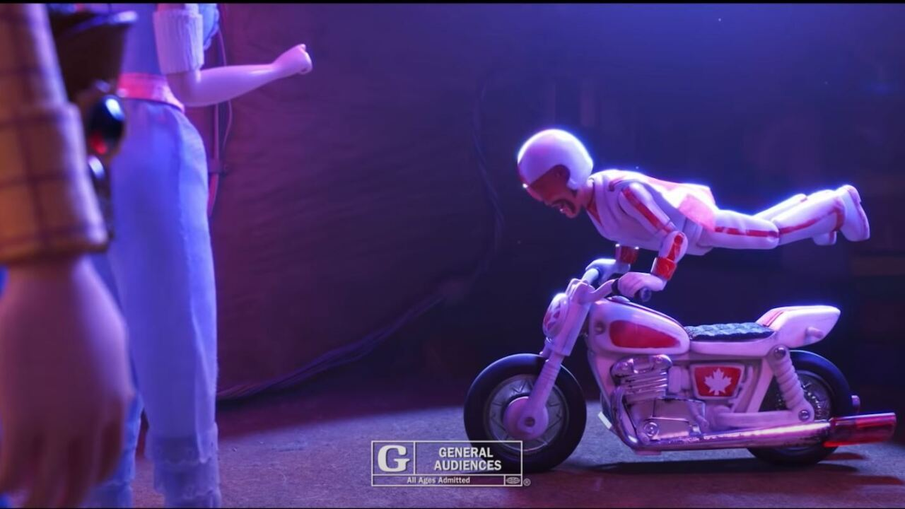 """These are screen shots from a movie trailer for Toy Story 4 which show """"Duke Caboom"""" a character at the center of a new lawsuit."""