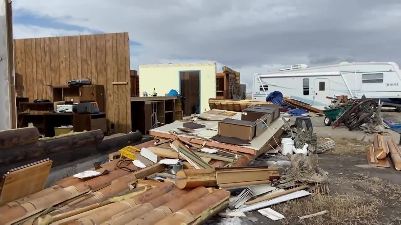Wind destroys house of family in Stanford