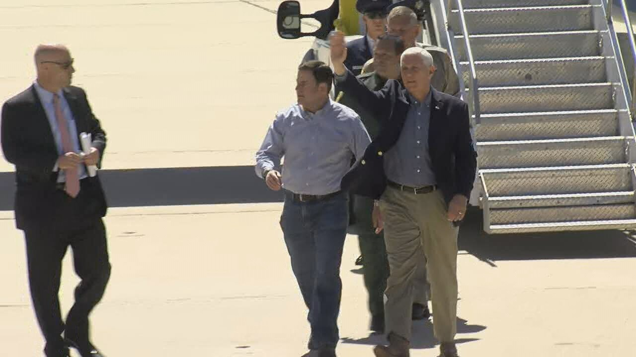 Ducey greets Pence at Davis-Monthan