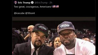 Eric Trump's now deleted Tweet showing a manipulated image of Ice Cube and 50 Cent wearing pro-Trump hats.
