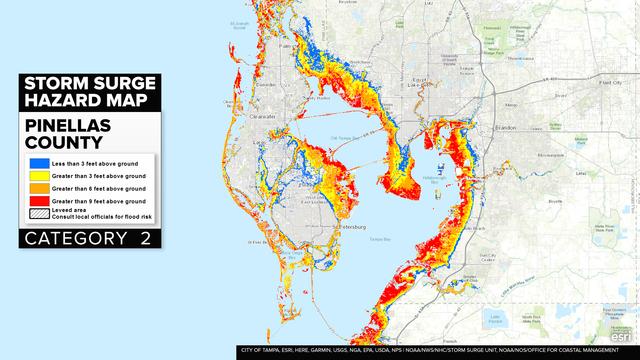 Florida Storm Surge Map Irma HURRICANE IRMA: Bay Area storm surge maps