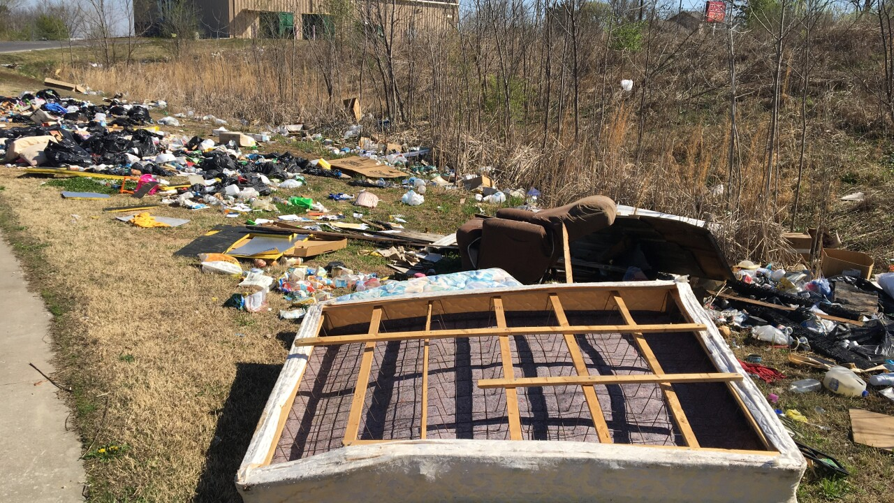 Trash dumping near a north Tulsa business