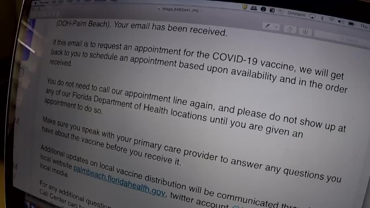 confirmation email from seniors on Florida Department of Health COVID-19 vaccine waiting list
