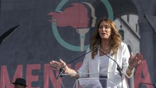 Caitlyn Jenner speaks at the fourth Women's March in Los Angeles.