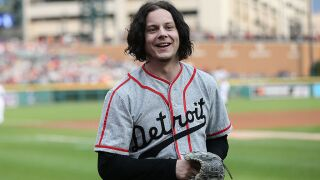 Jack White performing at Bernie Sanders rally in Detroit with Rep. Tlaib