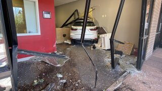 Marana police and Northwest Fire responded to a Marana wreck in which a car hit a building. Photo via Northwest Fire.