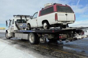 Various tow trucks could be seen on I-90 Friday.