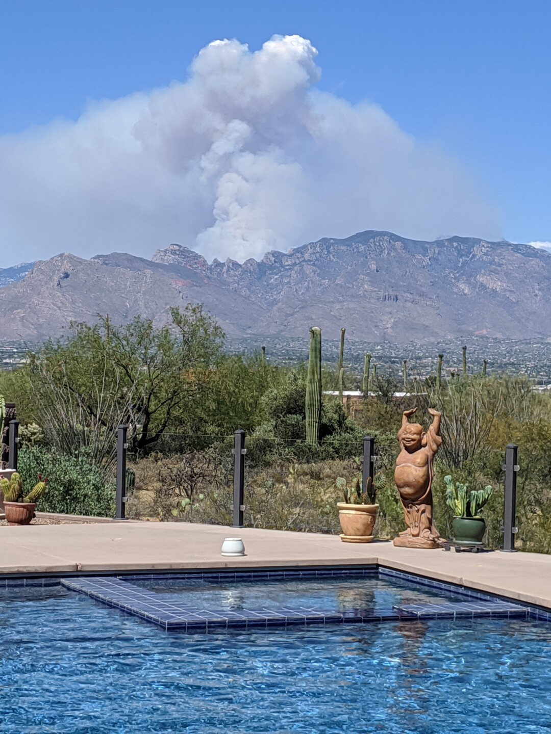Bighorn Fire in the Catalina Mountains seen from a distance