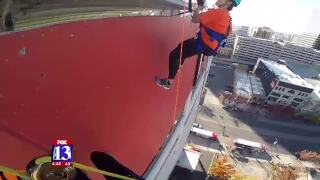My Heart Challenge participant rappels 13 floors for a goodcause