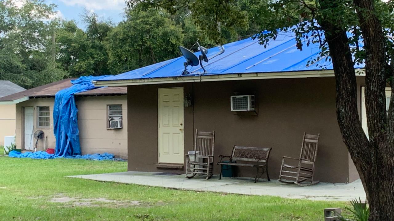 tarp on Plant City roof 2