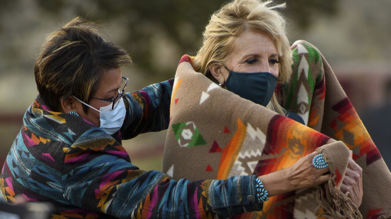 Jill Biden is set to visit a small grade school on the outskirts of the Navajo Nation capital Friday. AP photo.