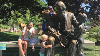 Kendra's kids with John Ball statue at John Ball Zoo