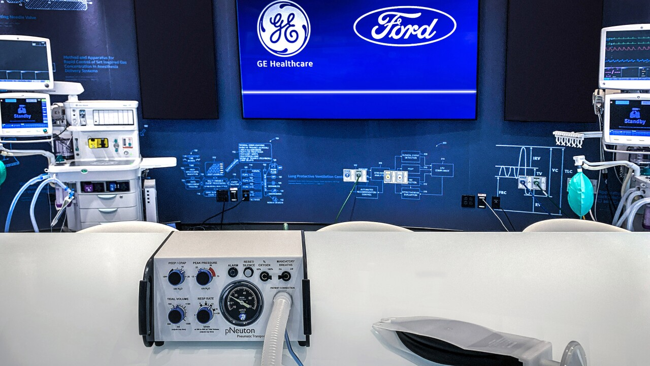 Ford GE Healthcare ventilator Model A-E w Simple Test Lung.jpg