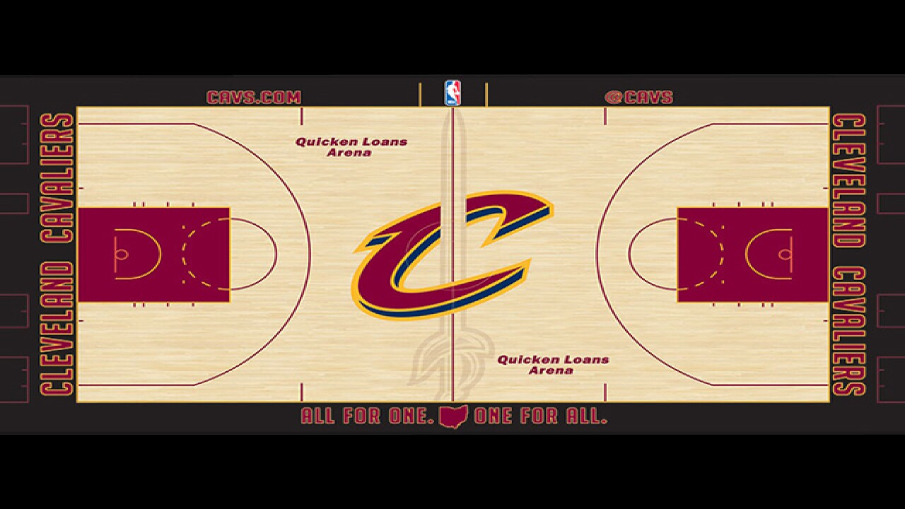 ea76932981c Reigning NBA Champion Cleveland Cavaliers unveil new court design