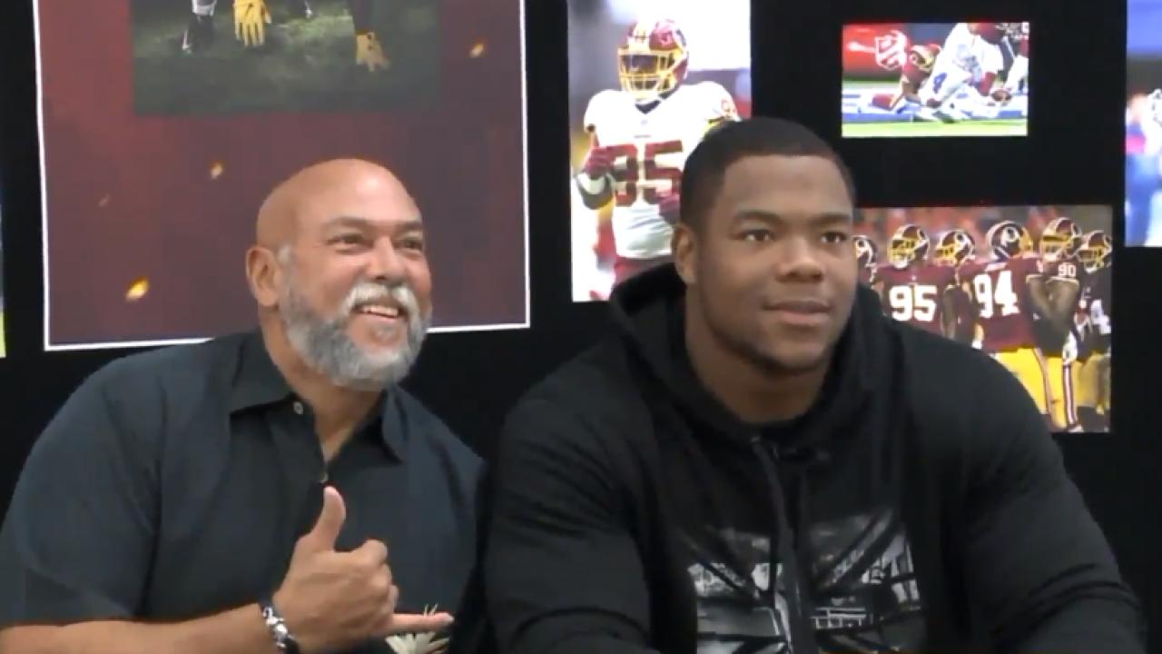 Redskins player Daron Payne visits FortEustis