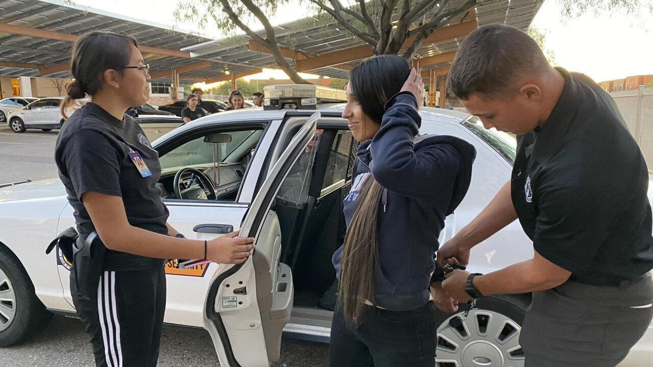 JTED students practice arrests at school